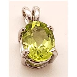 Jewelry - 0.85 Carat 14K Solid White Gold Fit For A Queen Peridot Pendant