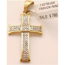 Jewelry - 1/4 Ctw Diamond Fashion Cross Pendant