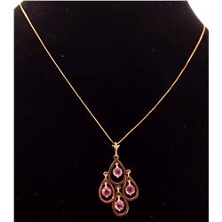 Jewelry - 14K Solid Rose Gold Pink Topaz Necklace Certified New