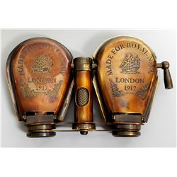 Collectible - Royal Navy Articulated Folding Brass Binoculars 1917