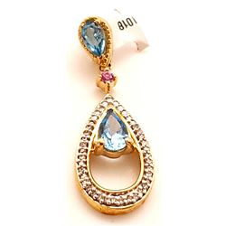 Jewelry - 10k Diamond and Blue Topaz Pendant