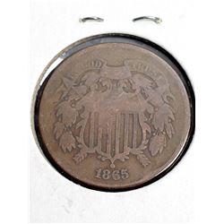 Coins - 1865 2 Cent Piece