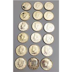 Coins - 17 1970s Silver Kennedy Half Dollars