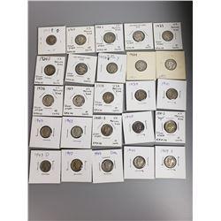 Coins - 25 Mercury Dimes