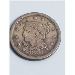 Coins - 1854 Liberty Head Large Cent