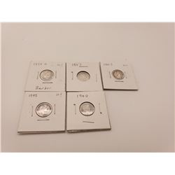 Coins - 5 Barber Dimes