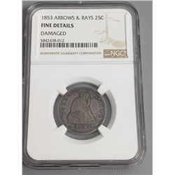 Coins - NGC 1853 Arrows and Rays 25 Cent