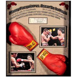 Manny Pacquiao and Oscar De La Hoya Autographed Boxing Gloves