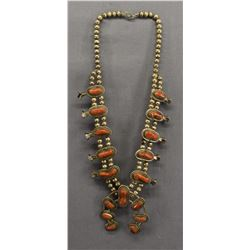 NAVAJO INDIAN CORAL SQUASH NECKLACE