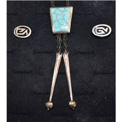 NAVAJO INDIAN BOLO AND MEXICAN CUFF LINKS