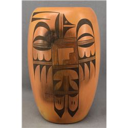 HOPI INDIAN POTTERY CYLINDER VASE (SADIE ADAMS)