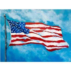 "Original ""Freedom Flag"" Canvas Painting by Joe Everson"