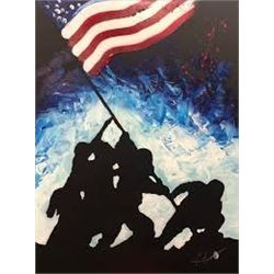 "Original ""Raising the Flag on Iwo Jima"" Canvas Painting by Joe Everson"