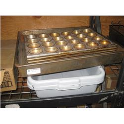 DISH BINS AND 4 PC MUFFIN PANS / BAKING TRAY
