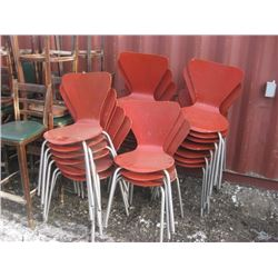 24 PC ONE MONEY RED STACKING BISTRO CHAIRS WORN