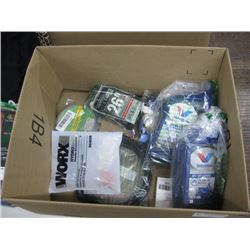 BOX OF HARDWARE AND ATV 10W-40 OIL