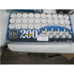 4 HOUR BURN 200 PC TEA LIGHTS CANDLES
