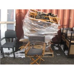 APPROX 30 FOLDING DIRECTOIR STYLE CHAIRS WORN