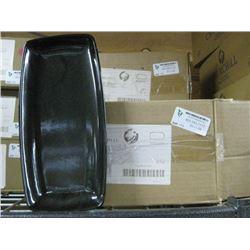 12PC BCBKOP11 BLACK GLAZE X SQUARE OBLONG PLATE 11.75 INCH