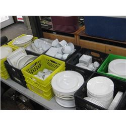 10 MILK CRATE OF WHITE DISHWARE