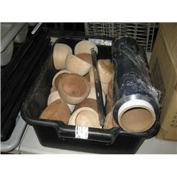 BIN OF WOODEN BOWLS AND FOOD WRAP