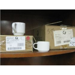 4PC ZCAPOST1 STACKING TEA CUP 7.5 OZ / 24PC WHFC41 STACKING 4OZ COFFEE CUP