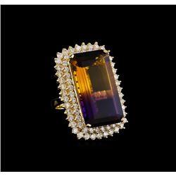 30.06 ctw Ametrine and Diamond Ring - 14KT Yellow Gold