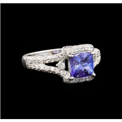 14KT White Gold 1.44 ctw Tanzanite and Diamond Ring