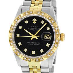 Rolex Mens 2 Tone Black Diamond Pyramid Bezel Datejust Wristwatch