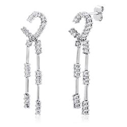 14k White Gold 1.00 ctw Diamond Earrings, (I1-I2/H-I)