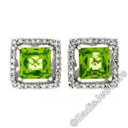 New 18kt White Gold 2.20 ctw Checkerboard Cut Peridot & Diamond Halo Stud Earrin