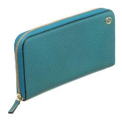 Gucci Blue Leather Zip-Around Wallet
