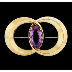 15.50 ctw Amethyst Connected Circle Pin - 14KT Yellow Gold