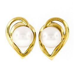 14kt Yellow Gold 6.6mm Round Pearl Open Stud Earrings