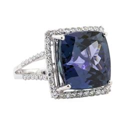 16.46 ctw Tanzanite and Diamond Ring - Platinum