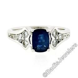 New 18kt White Gold 1.67 ctw Cushion Sapphire Solitaire and Diamond Tulip Ring