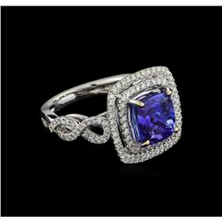 18KT White Gold 3.33 ctw Tanzanite and Diamond Ring