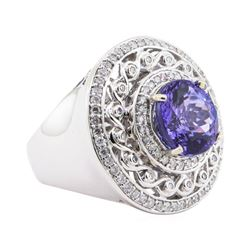 6.94 ctw Tanzanite and Diamond Ring - 14KT White Gold