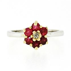 14kt Two Tone Gold 1.05 ctw Round Brilliant Ruby & Diamond Flower Cluster Ring