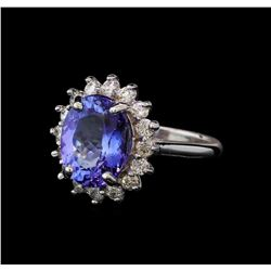 5.4 ctw Tanzanite and Diamond Ring - 14KT White Gold