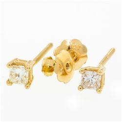 New 14K Rose Gold Princess Cut Solitaire Stud Earrings