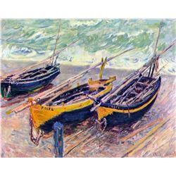 Claude Monet - Dock of Etretat (Three Fishing Boats)