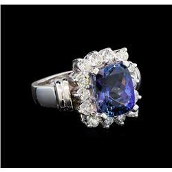 14KT White Gold 3.54 ctw Tanzanite and Diamond Ring
