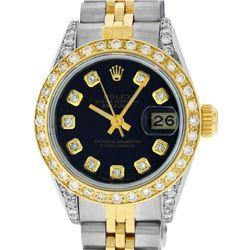 Rolex Ladies 2 Tone Black Diamond Lugs Datejust Wristwatch