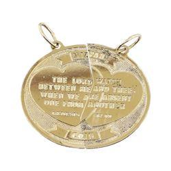 Mizpah Coin Pendant - 14KT Yellow Gold
