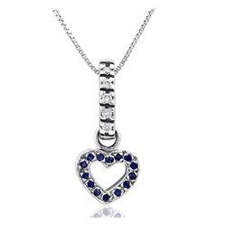 14k White Gold 0.35CTW Diamond and Blue Sapphire Pendant, (H-I)