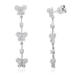 18k White Gold 0.60 ctw Diamond Earrings, (I1-I2/H-I)