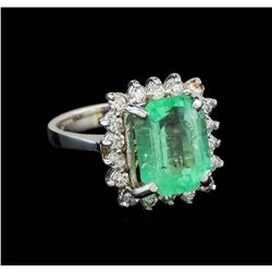 4.88 ctw Emerald and Diamond Ring - 14KT White Gold