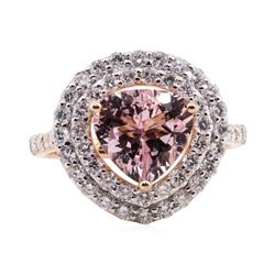 2.16 ctw Morganite and Diamond Ring - 14KT Rose Gold