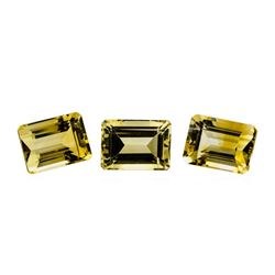 25.16 ctw.Natural Emerald Cut Citrine Quartz Parcel of Three